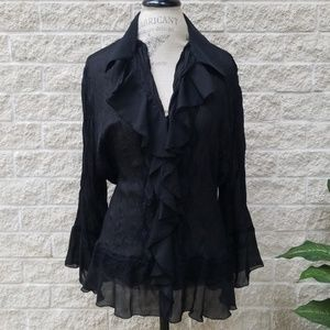 Allison Taylor Crinkle Crepe Ruffled Blouse